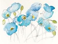 Black Line Poppies III Watercolor Fine Art Print