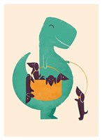 TRex and The Basketful of Wiener Dogs Fine Art Print