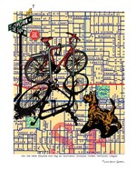 Bicycle and Dog Division Portland Fine Art Print