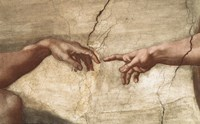 Creation Of Adam (detail of hands) Framed Print