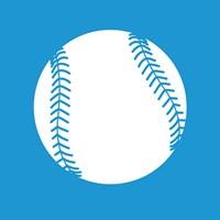 White Softball on Blue Fine Art Print