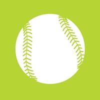 White Softball on Lime Fine Art Print