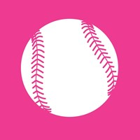 White Softball on Pink Fine Art Print