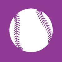 White Softball on Violet Fine Art Print
