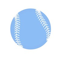 Blue Softball on White Fine Art Print