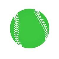 Green Softball on White Fine Art Print