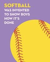 Softball Quote - Yellow on Purple Fine Art Print