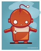 Retro Robot Orange Fine Art Print