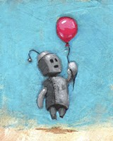 Robot With Red Balloon Fine Art Print