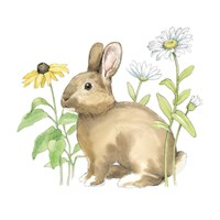 Wildflower Bunnies II Sq Fine Art Print