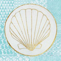 Summer Shells II Teal and Gold Fine Art Print