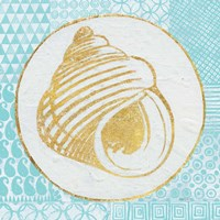 Summer Shells III Teal and Gold Fine Art Print