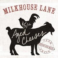 Farm Linen Goat Black Framed Print