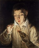 Boy Blowing over Hot Carbon Fine Art Print