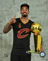 J.R. Smith with the NBA Championship Trophy Game 7 of the 2016 NBA Finals Fine Art Print