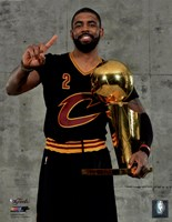 Kyrie Irving with the NBA Championship Trophy Game 7 of the 2016 NBA Finals Fine Art Print