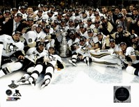 The Pittsburgh Penguins Celebration on Ice Game 6 of the 2016 Stanley Cup Finals Fine Art Print