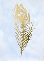 Gold Foil Feather II on Blue - Metallic Foil Framed Print