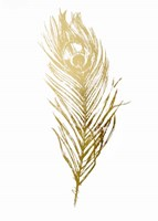 Gold Foil Feather II - Metallic Foil Fine Art Print