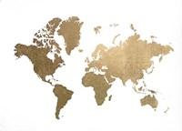 Large Gold Foil World Map - Metallic Foil Fine Art Print