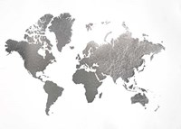 Large Silver Foil World Map - Metallic Foil Fine Art Print