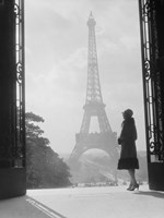 Woman Looking Toward Eiffel Tower Fine Art Print