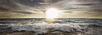 Sun Shining over Rocky Waves Fine Art Print