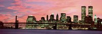 Manhattan at Night - Pink Sky Fine Art Print