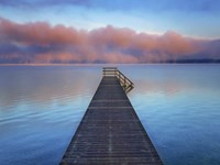 Boat Ramp and Fog Bench, Bavaria, Germany Fine Art Print