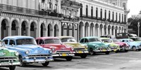 Cars Parked in Line, Havana, Cuba Fine Art Print