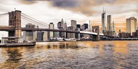 Brooklyn Bridge and Lower Manhattan at sunset, NYC Framed Print