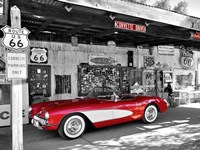 Red Corvette Framed Print