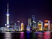 Shanghai at Night Framed Print