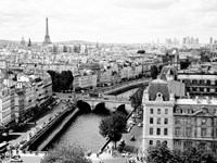 View of Paris and Seine River Fine Art Print
