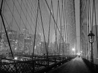 On Brooklyn Bridge by Night, NYC Fine Art Print
