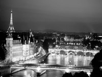 Paris and Seine River at Night Framed Print