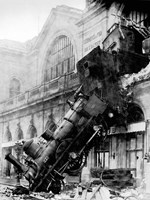 Train wreck at Montparnasse, Paris, 1895 Fine Art Print