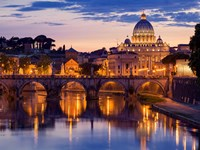 Night View at St. Peter's Cathedral, Rome Fine Art Print