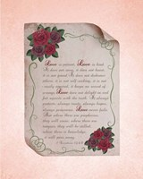Corinthians 13:4-8 Love is Patient - Rose Border Pink Fine Art Print