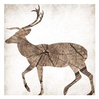Brown Wood Deer Mate Framed Print
