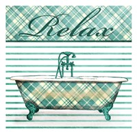 Relaxed Plaid Bath Framed Print