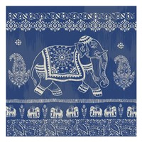 Boho Elephant Blue Framed Print