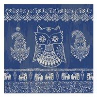 Boho Owl Blue Framed Print