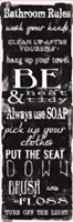 Bathroom Rules Black White Fine Art Print