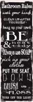 Bathroom Rules Black White Fine Art Print