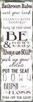 Bathroom Rules White Black Fine Art Print