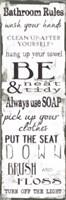 Bathroom Rules White Black Fine Art Print