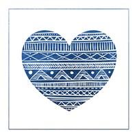 Indigo Tribal Heart 1 Framed Print