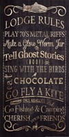 Lodge Rules - Tell Ghost Stories Framed Print