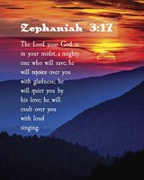Zephaniah 3:17 The Lord Your God (Sunset) Fine Art Print